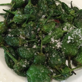 Pimientos de Padron with sea salt at the Mercado de San Miguel
