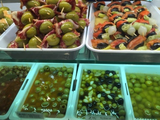 Olives for days at the Mercado de San Miguel